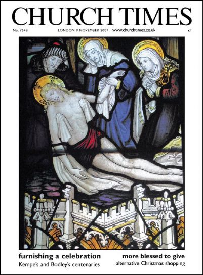 Kempe window in Lady Chapel featured on cover of Church Times 9th Nov 2007